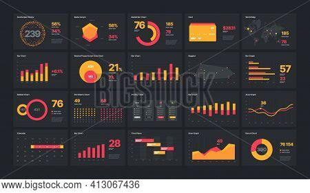 Infographic Elements. Ui And Ux Kit With Big Data Visualization.