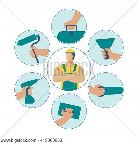 Master Builder And Icons Of Construction, Repair And Finishing Tools In His Hands. Vector Character