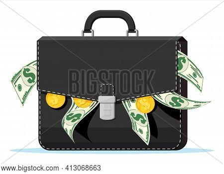Leather Suitcase Full Of Money. Dollar Banknotes. Golden Coins And Case. Symbol Of Wealth. Business