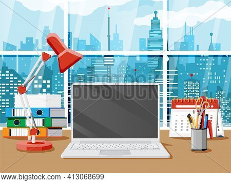 Office Desk With Laptop, Lamp, Document Papers. Calendar, Stationery, Folders. Modern Business Workp
