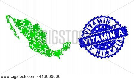Green Mexico Collage Map Constructed Of Puzzle Piece Items, And Vitamin A Scratched Seal Stamp. Vect