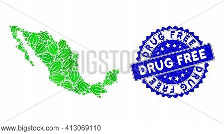 Green Mexico Mosaic Map Done Of Opium Poppy Icons, And Drug Free Textured Stamp. Vector Opium Poppy