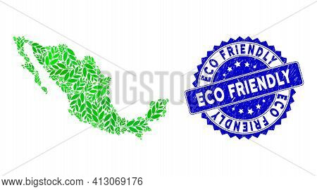 Green Mexico Collage Map Made Of Coca Plant Leaves Elements, And Eco Friendly Distress Badge. Vector