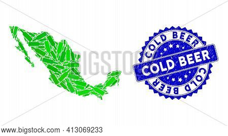 Green Mexico Mosaic Map Done Of Wine Bottle Design Elements, And Cold Beer Scratched Stamp. Vector W