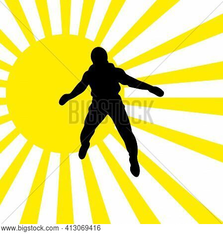 Parachutist Against The Sun In Flight Vector Silhouette Illustration Isolated On White Background.
