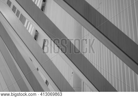 Closeup White Facade Building On Blur Steel Cladding Corrugated Metal Sheet Facade Of Building Abstr