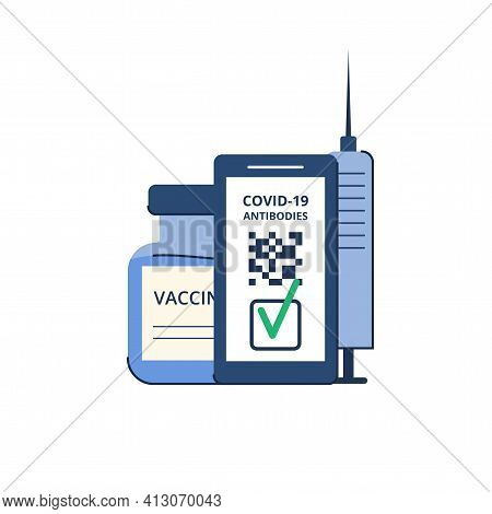 Time Of Vaccination Against Covid-19. Virus Protection. Testing For Antibodies. Qr Code On A Smartph