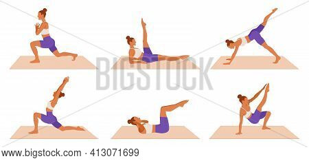 Vector Workout Woman Set. Girl Doing Fitness, Aerobic And Yoga Exercises. Lunges, Legs Exercises And