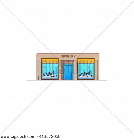 Jewelry Shop Or Store With Diamond And Gold Jewellery In Display Window, Vector Isolated Icon. Jewel