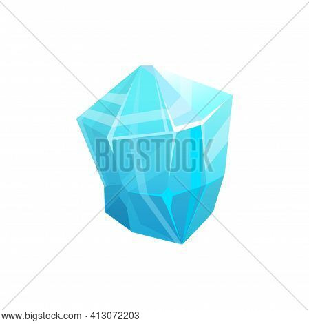 Ice Crystal Rock, Iceberg Or Frozen Glass And Blue Snow Glacier, Vector Icon. Isolated Cold Frost Ro