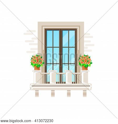 Balcony And Window, House Building Facade Porch Banister, Vector Flat Icon. Apartment Or Mansion, Ve