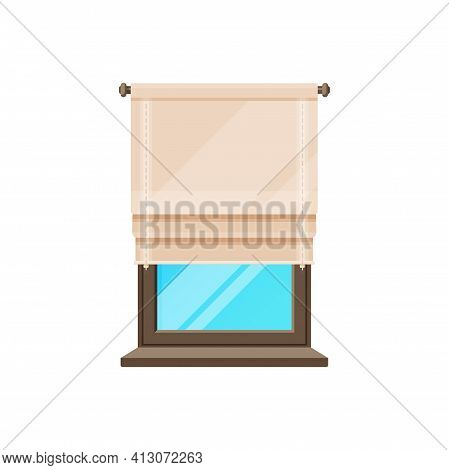 Window Roller Blinds, Curtains Roll Or Shutter Drapes, Vector Isolated Interior Frame. Window Night