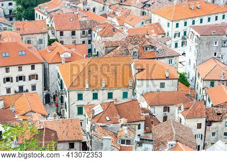Terracotta Tiled Rooftops Viewed From Above The Old Town,kotor,montenegro.