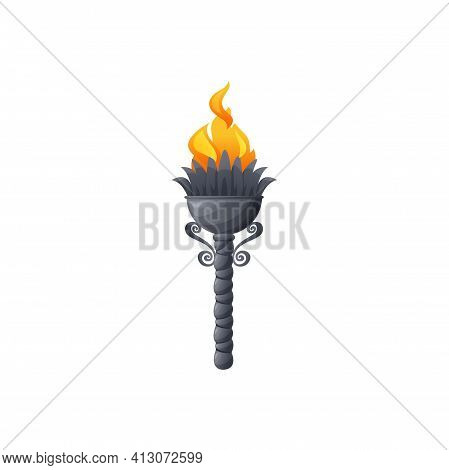 Torch Fire Flame Light, Medieval Burning Lantern, Vector Icon. Ancient Torch Or Firelight Burning Fl