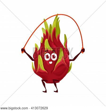 Pitaya Dragon Fruit, Healthy Food And Fitness Activity, Vector Cartoon Character. Topical Fruit Pita