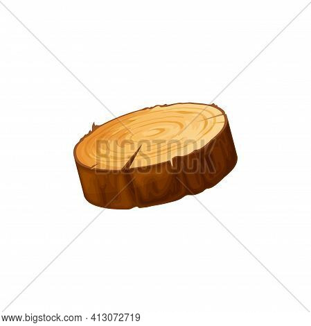 Log Of Round Wood, Chopped Tree Bark Of Felled Dry Wood Isolated Flat Cartoon Icon. Vector Saw Cut T