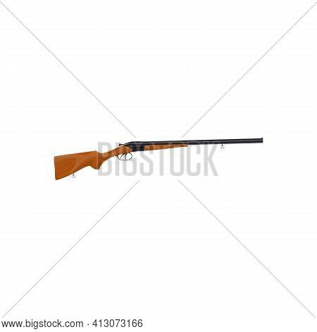 Shotgun Long-barreled Firearm Isolated Rifle Icon. Vector Retro Gun, Vintage Weapon, Portable Firear