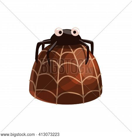 Chocolate Candy With Praline And Ganache, Decorated By Spider Net Isolated Realistic 3d Sweets. Vect