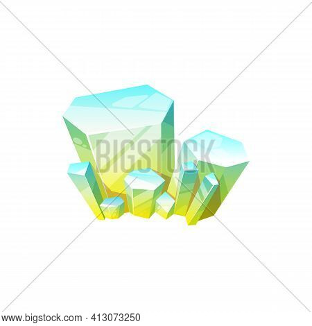Topaz Blue To Yellow Mineral Isolated Mineralogy Symbol, Crystalline Stone Or Gemstone Sapphire. Vec