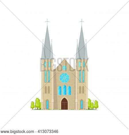 Church With Tower, Facade Of Building With Cross, Exterior Design Of Medieval Temple Isolated Cartoo