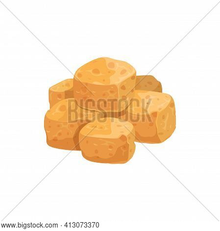 Tofu Cheese Fried Cubes Isolated Realistic Icon. Vector Vegetarian Product Of Soybeans, Soya Meat Pi