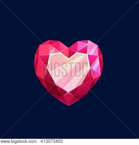 Red Magic Crystal, Heart Gem Rock Vector Icon. Mineral Ruby, Crystalline Stone Of Faceted Heart Shap