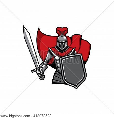 Medieval Knight Vector Icon, Heraldic Soldier Mascot, Warrior With Sword And Shield. Guard Attack Wi