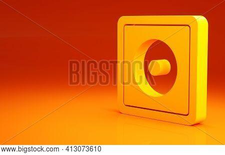 Yellow Billiard Chalk Icon Isolated On Orange Background. Chalk Block For Billiard Cue. Minimalism C