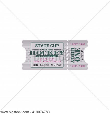 Vintage Ticket On Ice Rink Arena With Cutting Line Isolated Retro Card. Vector Ice Hockey Game Ticke