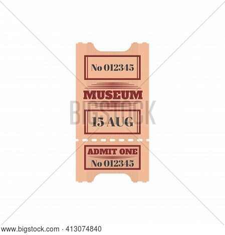 Full Ticket To Museum Isolated Retro Paper Card. Vector Voucher Access To City History Museum, Singl