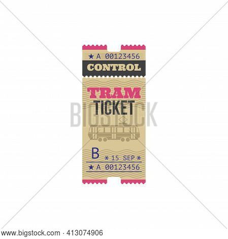 Tram Ticket Isolated Mockup Template. Vector Paper Card With Mention Of Date, Numbered Boarding Pass