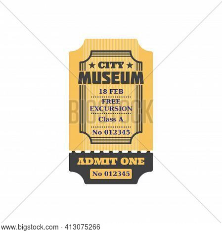 Admission To Visit Exhibition, Ticket To City Museum, Numbered Paper Card With Price, Free Excursion