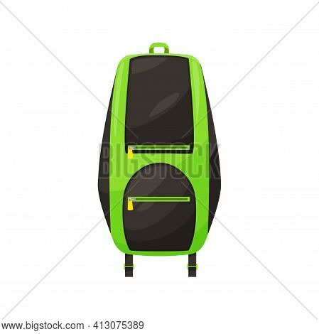 Kids Schoolbag Isolated Vector Icon, Cartoon Hiking Rucksack Of Green And Black Colors, Student Back