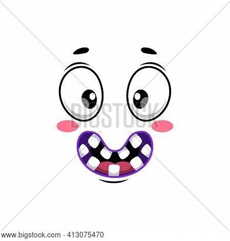Cartoon Face Isolated Vector Icon, Wide Smile Facial Emoji Of Funny Stupid Creature. Happy Emotion,