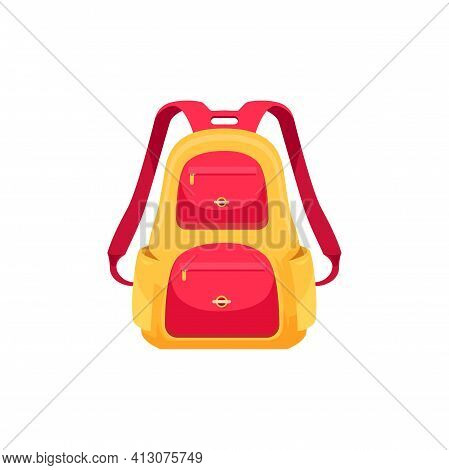 Kids Schoolbag Isolated Vector Icon, Cartoon Rucksack For Schoolchild. Baby Backpack For Girl Or Boy