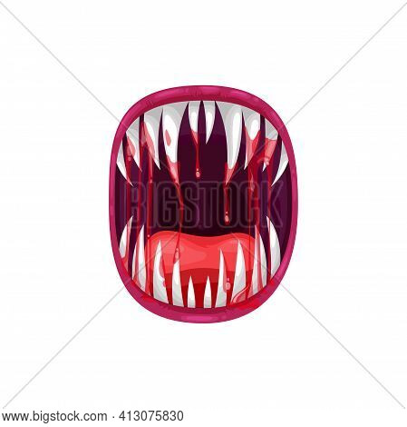 Monster Mouth Vector Icon, Creepy Yelling Alien Beast Jaws With Sharp Teeth And Long Tongue With Dri