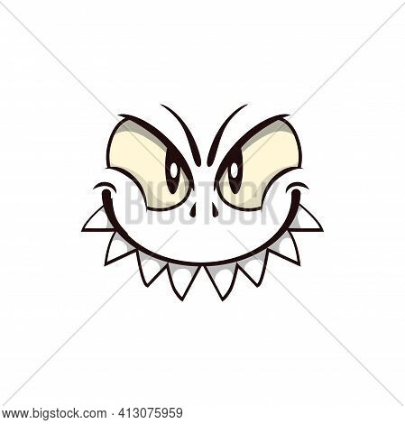 Monster Face Cartoon Vector Icon, Creepy Creature Emotion With Predatory Smile, Squinted Angry Eyes