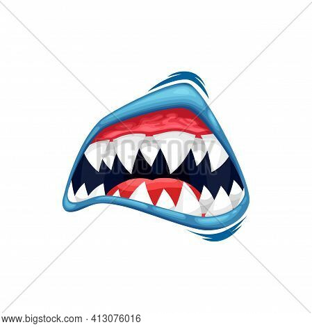 Monster Mouth Vector Icon, Creepy Zombie Or Alien Jaws With Sharp Teeth, Blue Lips And Red Tongue. H
