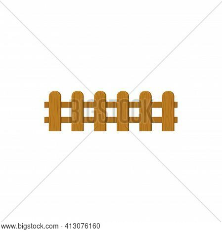 Rural Horse And Cattle Barrier, Timber Planks Manor, Cattle Border Isolated Fence. Vector Exterior H