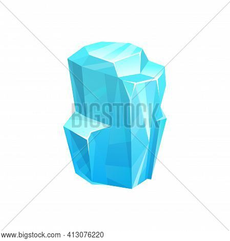 Ice Crystal, Blue Frozen Floe Vector Block, Salt Mineral Or Iced Snowdrift Cap. Gui Or Ui Game Icicl