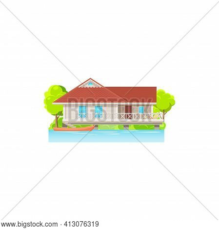 Facade Of House On Water With Canoe Boats Isolated Home For Sale Or Rent At Sea Cost. Vector Tropica