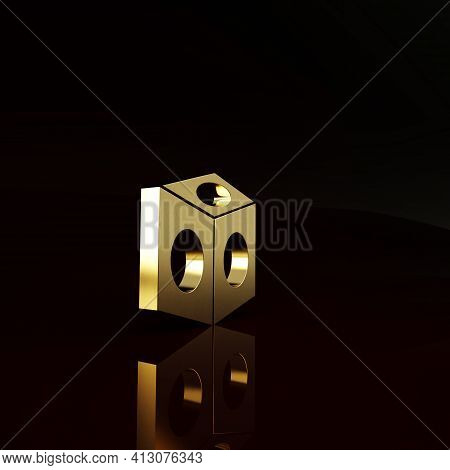 Gold Billiard Chalk Icon Isolated On Brown Background. Chalk Block For Billiard Cue. Minimalism Conc