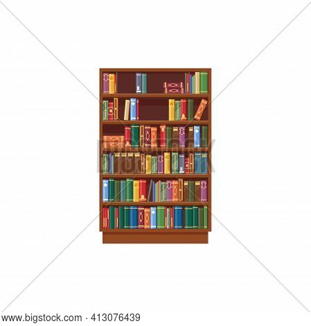 Bookcase Vector Icon, Cartoon Shelf With Books In Library, Wooden Bookstore With Colorful Spines On