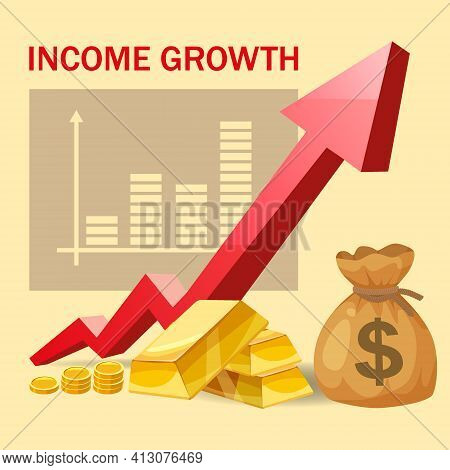 Increase Income Financial Revenue, Growth Money Rate Rising Up. Arrow Up, Gold Bars Bag Coins Bag Fu