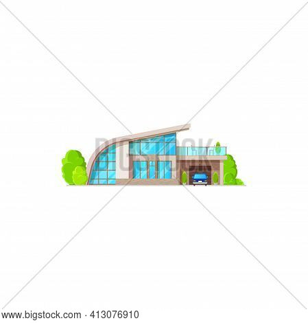 Country House, Urban Private Home Villa With Terrace And Garage, Roof And Windows Isolated. Vector L