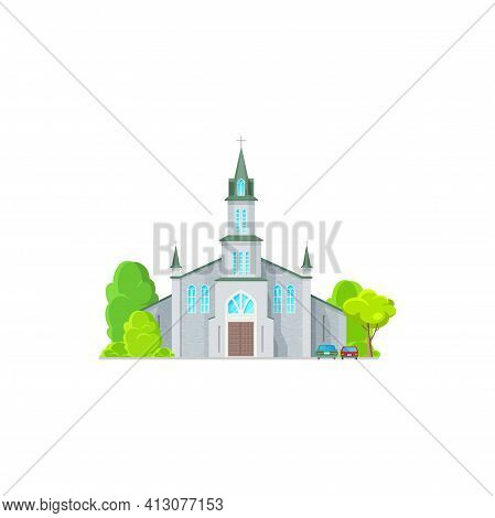 Christian Church Isolated Catholic Chapel Cartoon Icon. Vector Exterior Facade With Trees And Vehicl