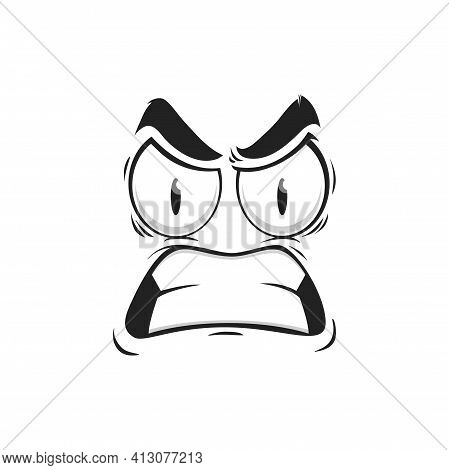 Cartoon Face Vector Emoji With Angry Eyes And Gnash Teeth. Negative Facial Expression, Angry Feeling