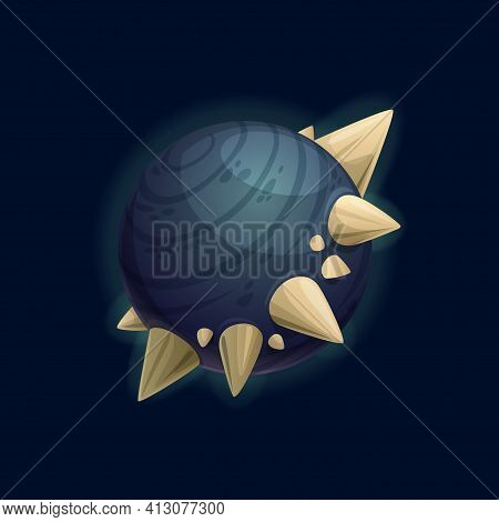 Fantasy Planet With Thorns Or Fangs, Satellites In Space, Far Alien World Isolated Flat Cartoon Icon