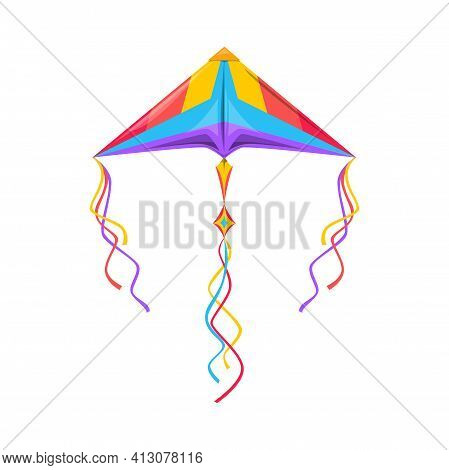 Kite In Shape Of Triangle With Strings In Sky Isolated Kids Toy. Vector Cartoon Flying Object In Sky