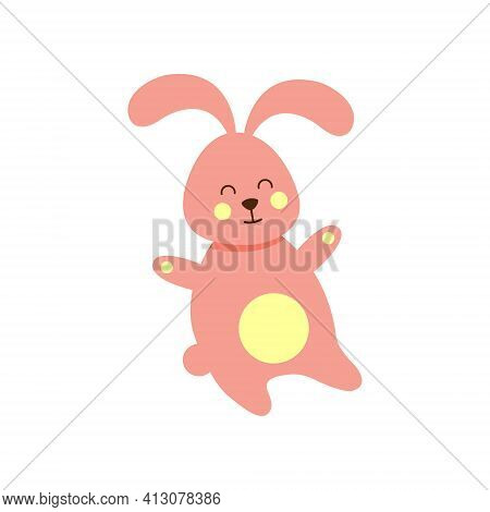 Pink Easter Bunny. Easter Bunny On A White Background. Vector
